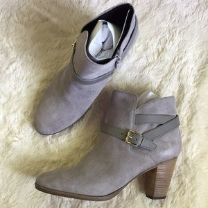 Cole Haan gray suede Hayes strap booties